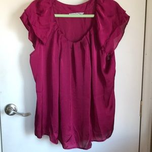 Bright burgundy blouse sz 2x flutter sleeve